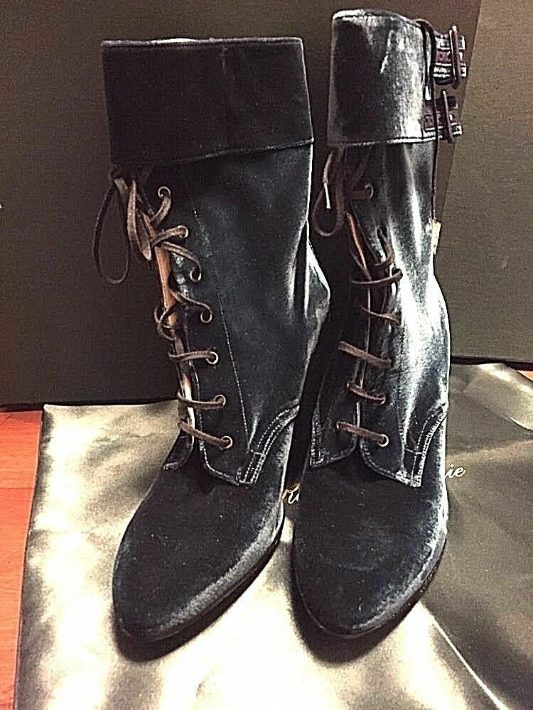 NEW Robert Clergerie Velour Lace Up Short Stiefel Stiefel Stiefel Größe 8  795 at Bergdorf Goodman d68302