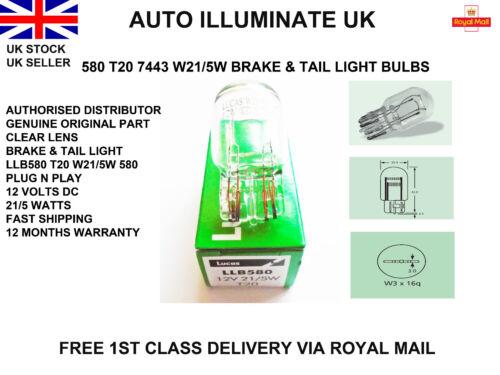 LUCAS 580 T20 W21W//5W STOP BRAKE /& TAIL SIDE LIGHT BULBS LAMP W3X16Q 7443 12V UK