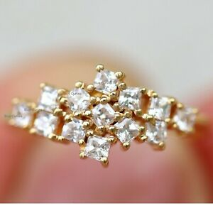 Wedding Proposal Ring Natural SI Clarity G-H Color Diamond Design Ring Solid 14K Yellow Gold Handmade Fashion Fine Jewelry
