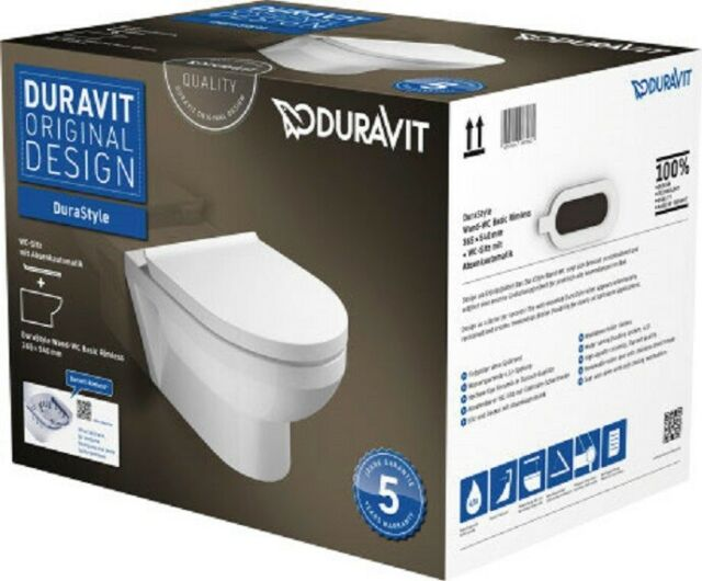 DURAVIT DuraStyle Wand-Tiefspül-WC Set, weiß, rimless, inkl.WC-Sitz, 45620900A1