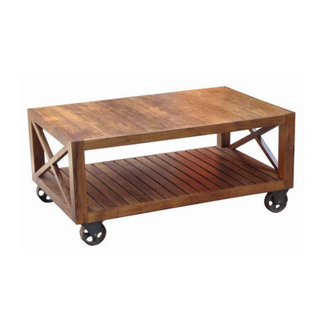 COFFEE TABLE ON WHEELS WITH SHELF 120CM LISBON SOLID ACACIA WOOD TV STAND Nice Look