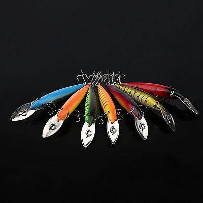 14cm/16.2g Minnow Fishing Lure Crank Bait Bass Crankbait Hard Hook Tackle 7pcs