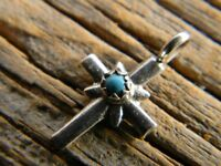 Sterling Silver Navajo Pendant Turquoise Cross 3/4 Long Free 18 Cobra Chain