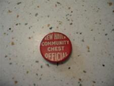 VINTAGE NEW HAVEN COMMUNITY CHEST OFFICIAL PINBACK, NEW HAVEN, CONNECTICUT