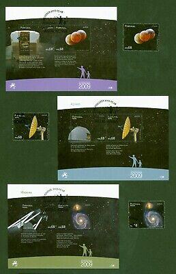 Portugal + Azoren + Madeira 2009 - Europa Cept Astronomie - 3 Em + 3 Blocks -cto