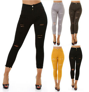 Jeans Denim Ladies High Waist Skinny 7/8 Jeans Trousers Used