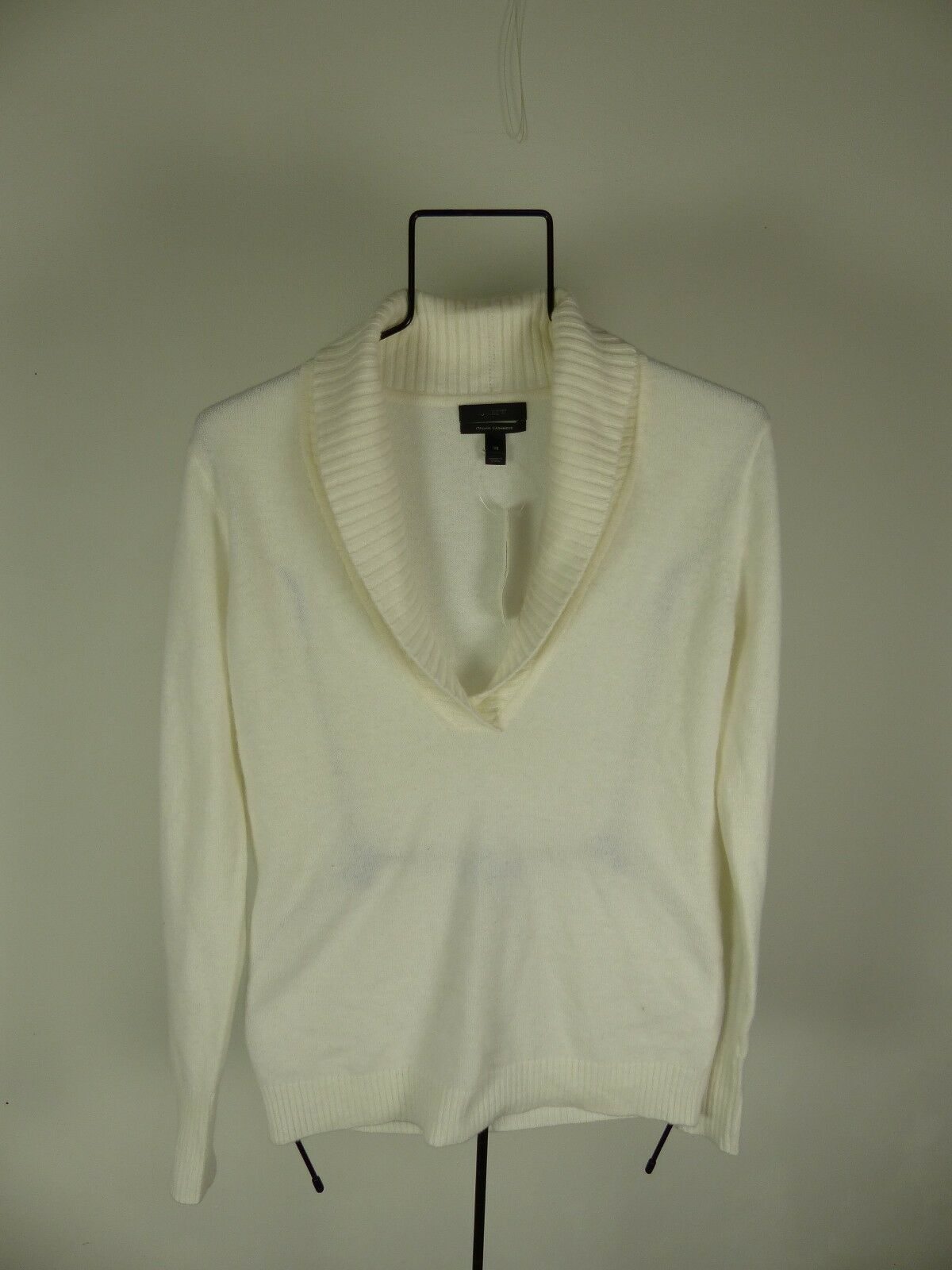 J. Crew COLLECTION CASHMERE SHAWL-COLLAR SWEATER size XS white