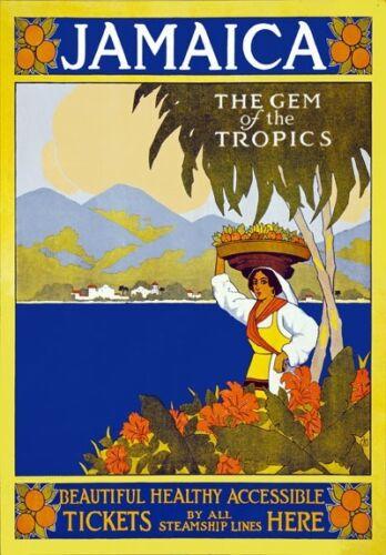 A1//A2//A3//A4 TA28 Vintage Jamaica Gem Of The Tropics Travel Poster Re-Print