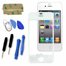 White Replacement Front Screen Glass Lens Repair Tools Kit For iPhone 4 4S