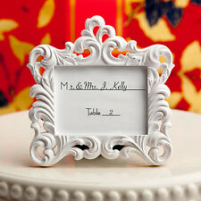 100 - White Baroque Style Place Card Holder Photo Frame Wedding Favors