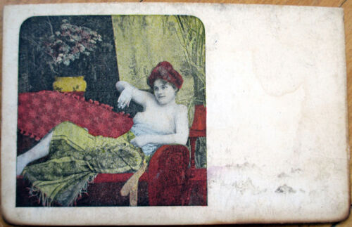 1905 Risque Postcard NudeTopless Reclining Woman on Sofa