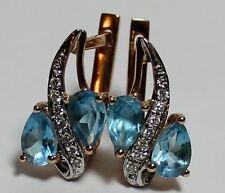 Earrings Ohrringe blue Topaze Blautopas + Diamonds rot Gold 585er 14 K schön!