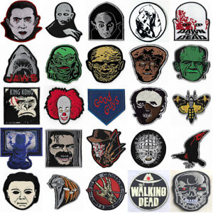 HORROR-PATCHES-IRON-SEW-ON-BADGES-RETRO-CULT-SLASHER-MOVIE-FILM-COSTUME-RARE