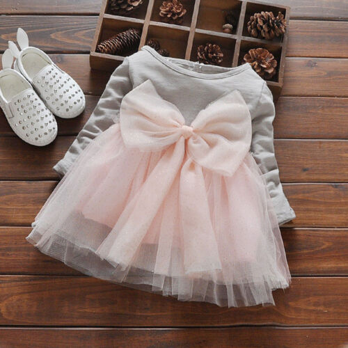 Kid Infant Girl Bowknot Long Sleeve Tulle Casual Party Princess Tutu Dress Nice