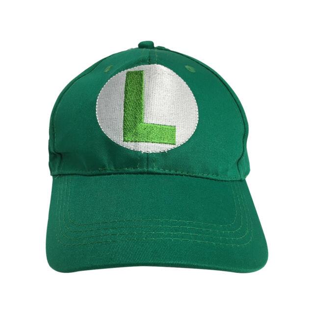 c758e0f97 Luigi L Logo Green Baseball Cap Hat Super Mario Brothers Costume Nintendo  Kart