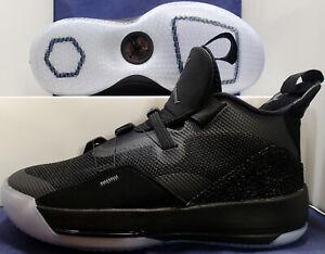 Nike-Air-Jordan-XXXIII-33-Blackout-Black-Dark-Grey-White-SZ-10-AQ8830-002