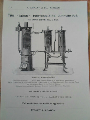 """GNOM"" Pasteurizing Apparatus Image Copy Print L Lumley & Co Minories London"