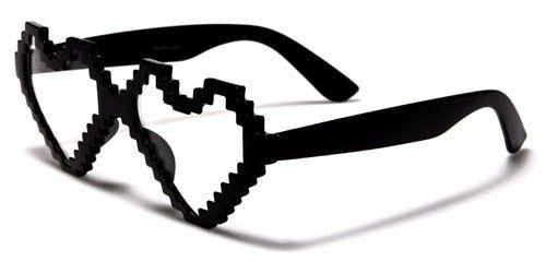 Nerd Womens Ladies Gamer Pixel Fun Novelty Heart Shaped Glasses NERD024