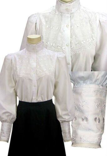 Victorian Blouses, Tops, Shirts, Vests Victorian Embroidered Lace Overlay Laura Blouse Steampunk  $44.95 AT vintagedancer.com