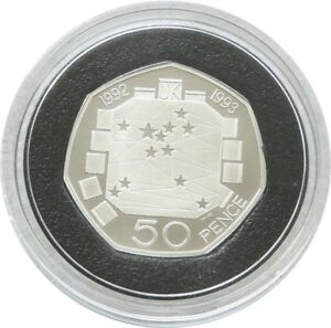 2009-Royal-Mint-EUROPEO-PRESIDENCIA-50p-CINCUENTA-Penique-De-Plata-Prueba-Moneda