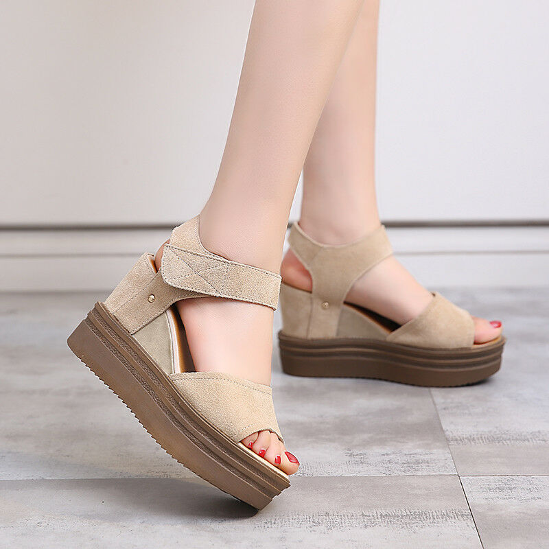 Nuevo Para Mujer Plataformas Cuñas Sandalias De Tiras Tiras Tiras Moda Casual Zapatos De Princesa De Palo  ofreciendo 100%