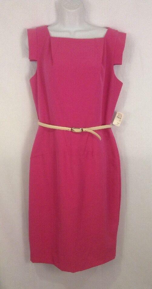 NWT SINGLE by GALINA SOBOLEV Victoria B Rosa Belted Cotton  Dress - Größe 12