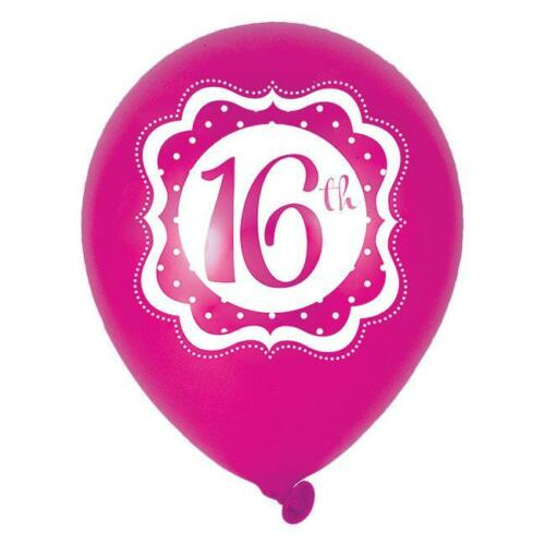 Perfectly Pink 16th Birthday 28cm Latex Balloons 6ct