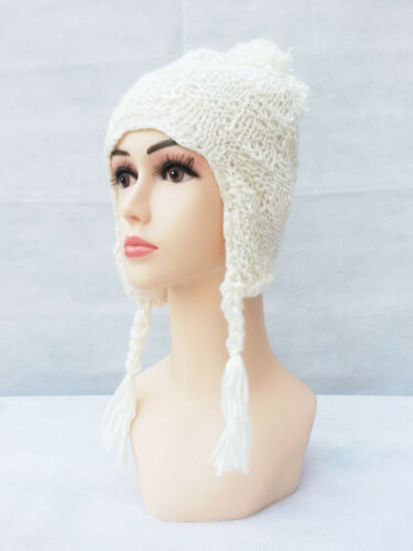 New Winter Warm Womens Girls  Wool Knit Hats Ski Beanie Ball Caps Ear Flap Hats