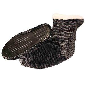 Botas-De-Casa-Gris-Negro-Hombre-Zapatillas-Peluche-Botines-Pantuflas-Suela-Goma