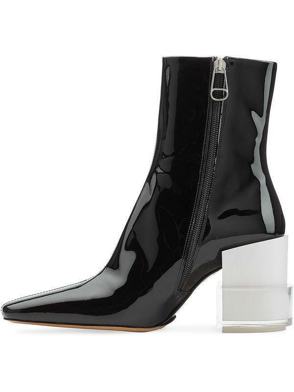 Womens Ankle Boot shoes Patent Leather Block Heel Square Toe Shoes Zipper new