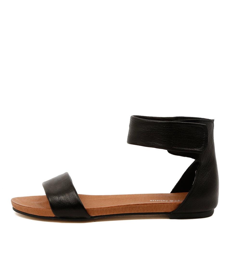 New Django & Juliette Juzz Black Womens shoes shoes shoes Casual Sandals Sandals Flat 2be952