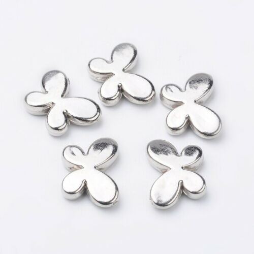 10 CCB Acrylic Silver Butterfly Beads F22
