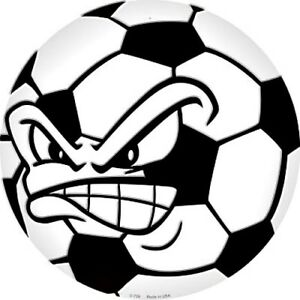 """Angry Soccer Ball Face 12/"""" Round Metal Sign Sports Novelty Home Wall Decor"""