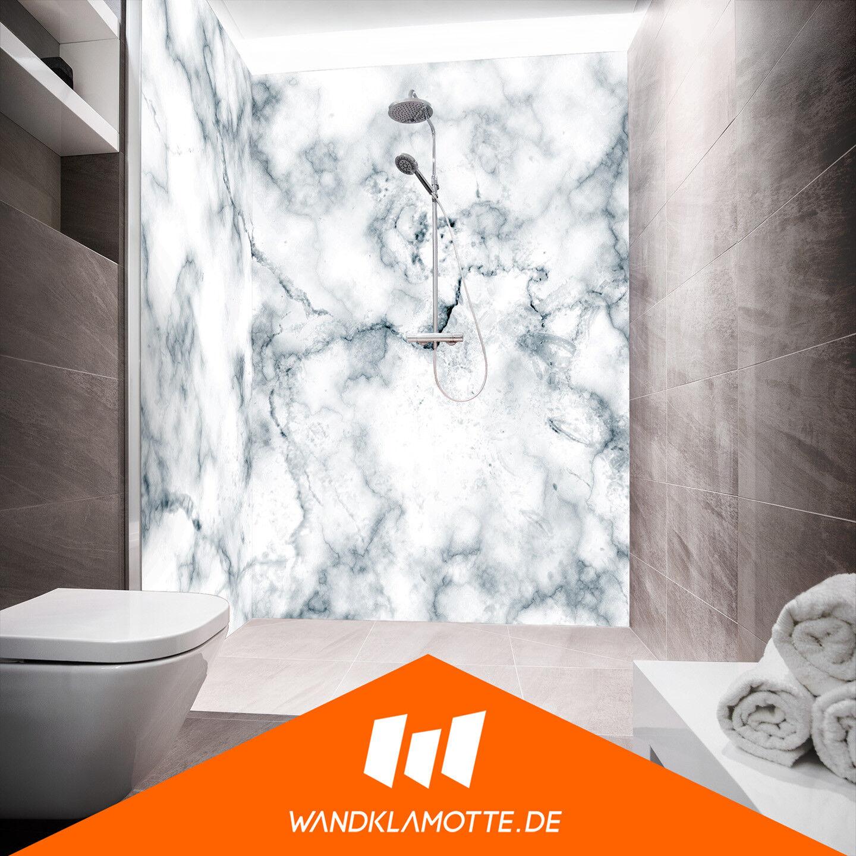 Eck Duschrückwand zwei zwei zwei Platten Alu Bad Dusche Wand Marmora Ex Aqua 87bbeb