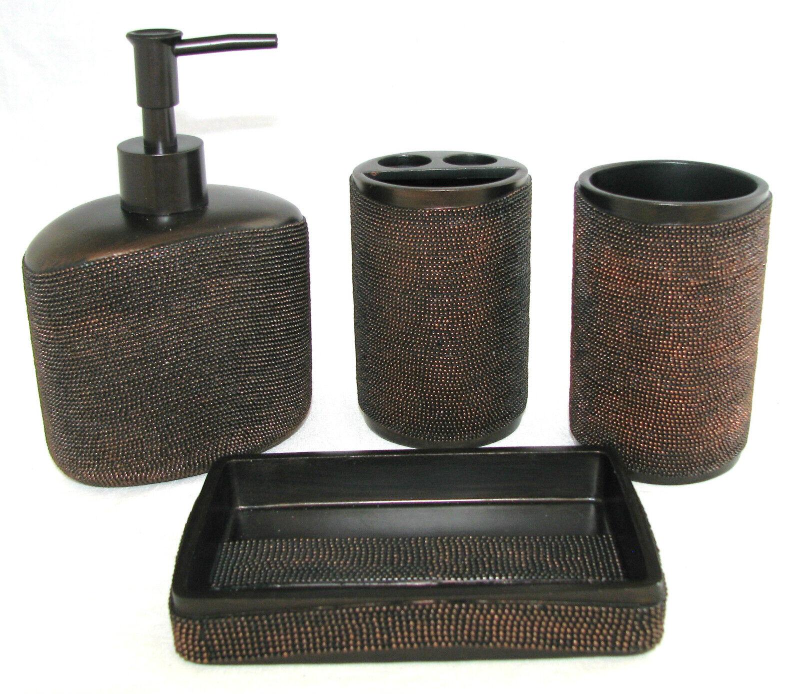 4 PC SET braun COPPER RESIN DOT DESIGN SOAP DISPENSER+TOOTHBRUSH+TUMBLER+DISH