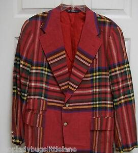 About Sport Lauren Madras Polo Plaid Blazer Jacket Ralph Cotton Coat Red 40 Details 38 Vintage uJ3FKcTl1