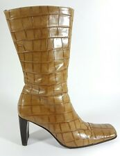 Russell & Bromley tan leather croc skin effect mid calf boots uk 5 Eu 38