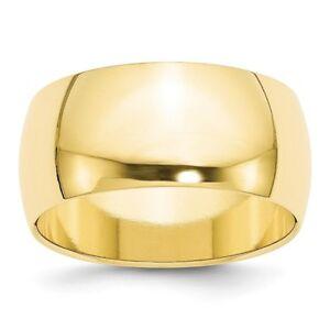 Solid 10k White Gold 7mm Half Round Wedding Band