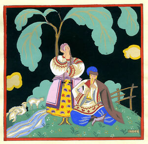 1930s-French-Pochoir-Print-Edouard-Halouze-Russian-Folk-Couple-Flute-Player-S