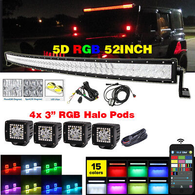 "42/"" Curved RGB LED Light Bar Multi Color Change 2X 3/"" RGB HALO Cube Pods"