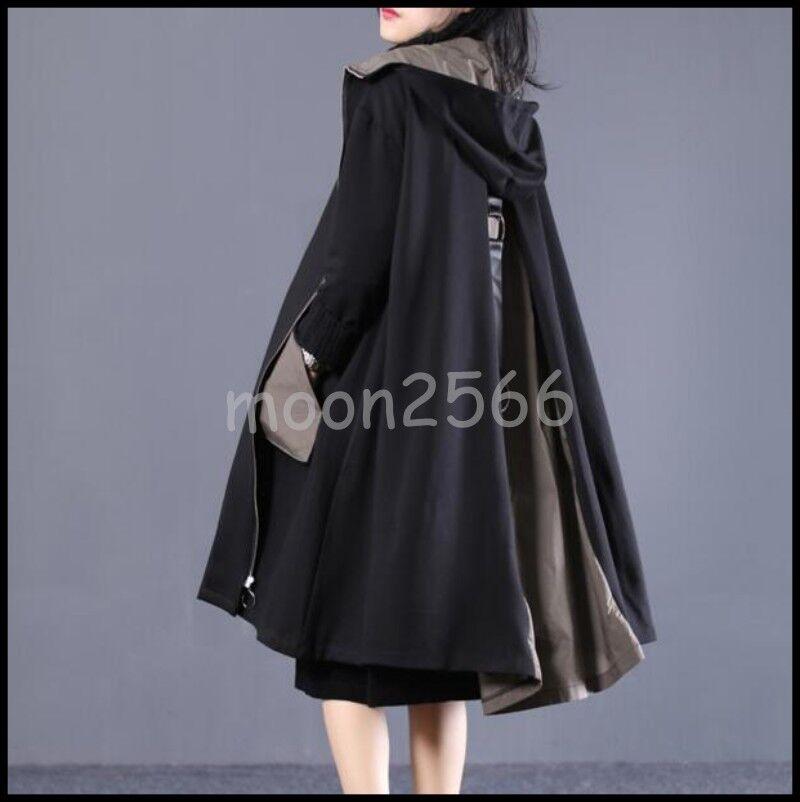 Women Oversize Cotton Blend Loose Hood Swing Outwear Long A-Line Parka Wind Coat
