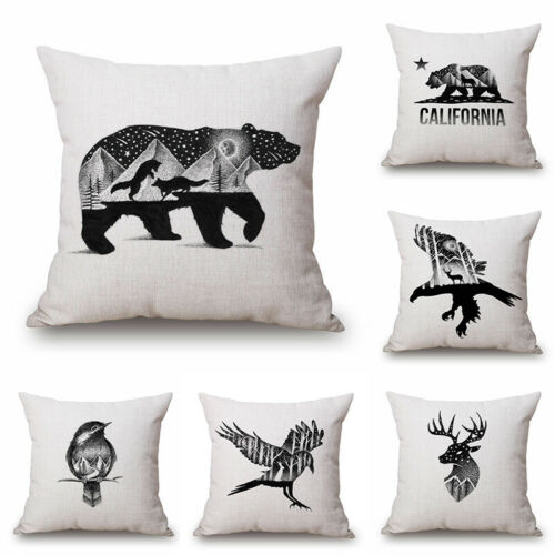 """Home Cotton Linen Car Bed Waist Cushion Throw Pillow Case Square Cover Gift 18/"""""""