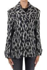 GUCCI Winter Pea Coat Black White Mohair Fur Jacket Alpaca Silk Lining 40 US 4