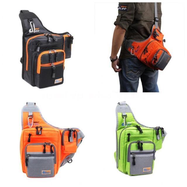 Waterproof Fishing Tackle Bag Pack Shoulder Waist Box Reel Lure Storage Canvas