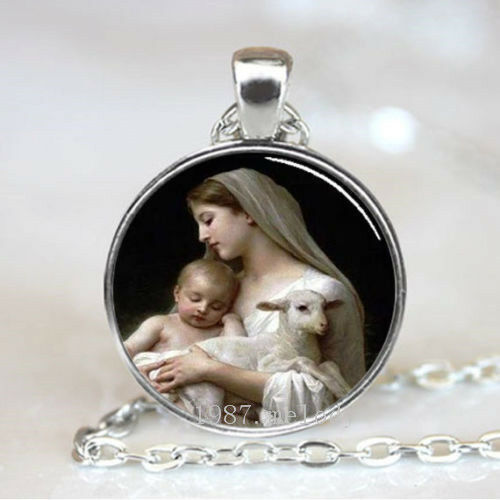 Vintage Cabochon Glass necklace Virgin Mary jewelry Silver//Black//bronze pendant
