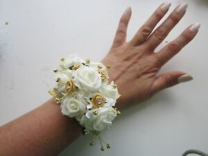 Image Is Loading Ivory Amp Champagne Wrist Corsage Prom Wedding Flowers