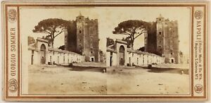 Italia Sicilia Palermo Foto Giorgio Sommer Stereo c1860 Vintage Albumina