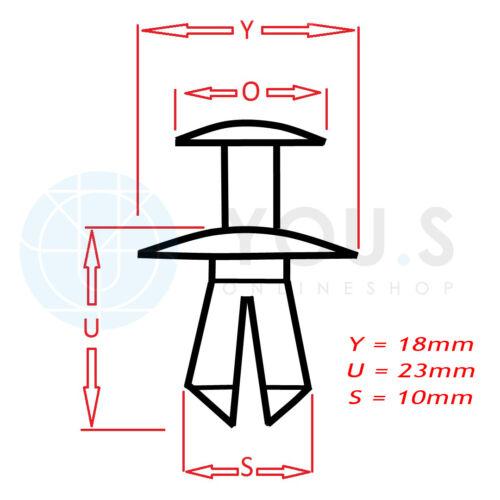 10 x YOU.S Original Spreiznieten Stoßstangen Befestigungsclips für Nissan
