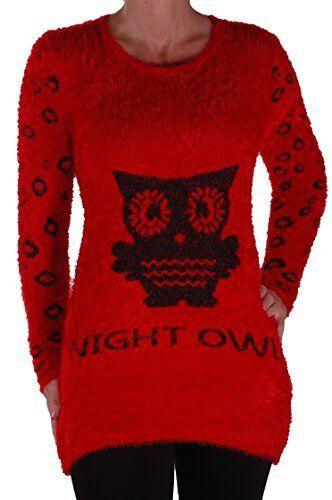 Da Donna Casual Manica Lunga a Maglia Skinny Stretch Owl Stampa Maglione Scollo Profondo