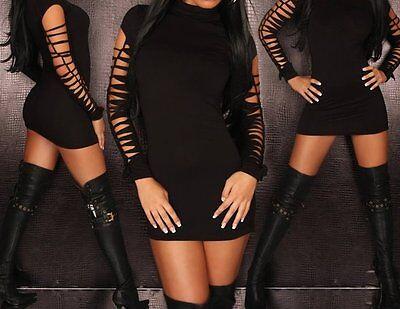 Minikleid Stretchkleid Kleid 36 schwarz Rollkragen Risse Ärmel Party Shirt lang